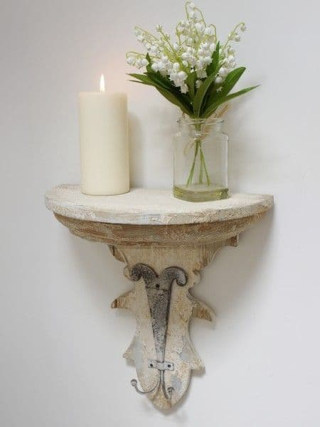 Rustic Distressed White Wall Shelf With Hooks